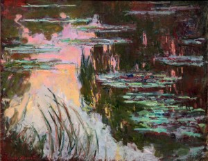 'Water-Lillies, Setting Sun' by Claude Monet (1907 AD).