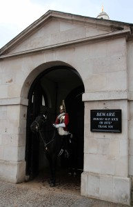 A mounted trooper of the Household Cavalry on duty at Horse Guards building.