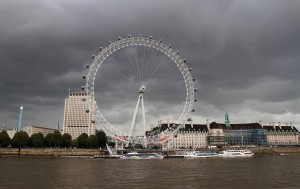 The London Eye, on the south bank of the Thames River.