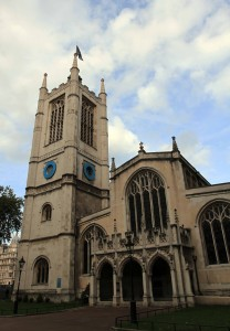 St. Margaret's Church, located on the grounds of Westminster Abbey; originally founded in the 12th-century AD, it was rebuilt in 1523 AD.