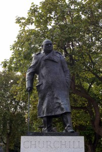 Statue of Winston Churchill in Parliament Square.