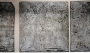 Assyrian panels taken from the North-West Palace in Nimrud; dated to 865-860 BC.