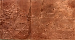 'The Royal Lion Hunt', an Assyrian panel taken from the North Palace in Nineveh; dated to 645-635 BC.