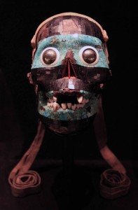 Turquoise mosaic mask of Tezcatlipoca (a human skull forms the base of this mask); Aztec, ca. 1400-1521 AD.