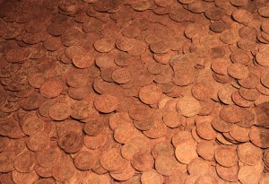 The Fishpool Hoard, the largest hoard of medieval coins discovered in Britain; they were deposited around 1464 AD.