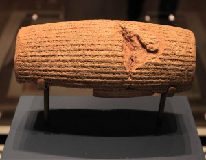 The Cyrus Cylinder, an ancient clay cylinder from Persia (6th-century BC).