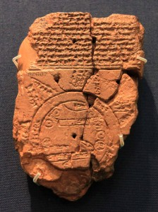 A Babylonian clay tablet that depicts the known world (700-500 BC).