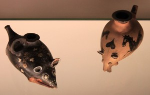 Gnathian baby feeders made in the shapes of rats; produced in Sicily, ca. 320-300 BC.