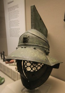 Bronze helmet of a Murmillo (a class of gladiator), that weighed 8 lbs; Roman, 1st-century AD.
