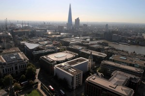 Looking at the Shard from St. Paul's Cathedral.