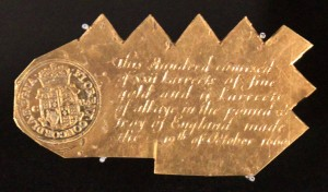 A Charles II gold trial plate from 1660 AD.
