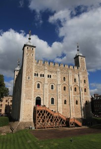 The White Tower, in the center of the Tower of London fortress.