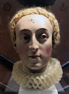 A wooden head of Queen Elizabeth I, made for the Line of Kings display around 1780 AD.