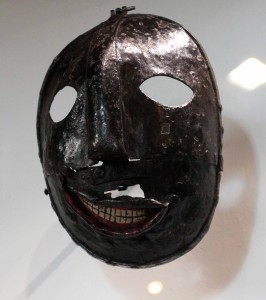 Supposedly an executioner's mask, it is more likely a recycled scold's bridle originally used to punish gossips.