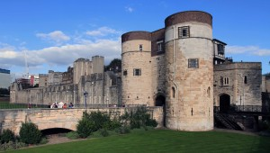 The west side of the Tower of London fortress with the Byward Tower (the visitors' entrance to the fortress) in view.