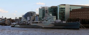 The HMS Belfast, a Royal Navy light cruiser that participated in Operation Overlord, supporting the Normandy landings.