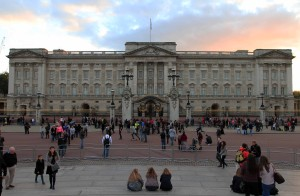 Buckingham Palace, the London residence and principal workplace of the reigning monarch of the United Kingdom; the structure dates back to 1703 AD and has undergone many additions and renovations.