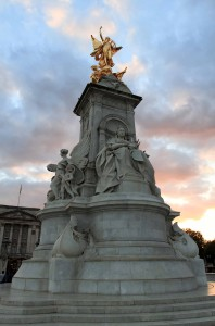 The Victoria Memorial in front of Buckingham Palace; it was created by Sir Thomas Brock in 1911 AD.