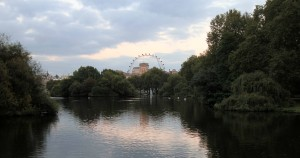 St. James' Park Lake with the London Eye visible in the distance.