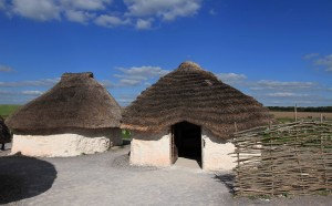 Recreations of Neolithic huts, located outside of the visitor center at Stonehenge.