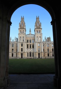 View of the All Souls College quadrangle from the Radcliffe Square gate.