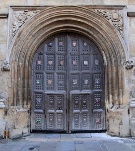 Doorway for the Bodleian Library, with the coats-of-arms of several Oxford colleges.