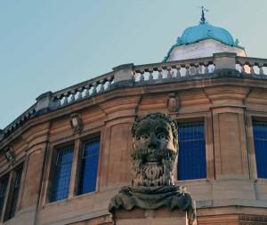 One of several busts that decorate the fence between Broad Street and the Sheldonian Theatre.