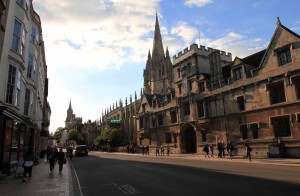 High Street in Oxford with All Souls College and the University Church of St. Mary the Virgin on the right.