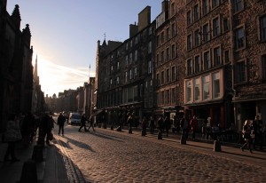 Looking west on the Royal Mile, the thoroughfare that runs from Edinburgh Castle (in the west) to Holyrood Palace (in the east) at a distance of approximately one Scots mile (which is equivalent to 5,938 feet).