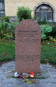 "Tombstone for Greyfriars Bobby with the following epitaph: ""Let his loyalty and devotion be a lesson to us all."""