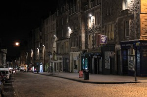 Part of the Royal Mile at night.