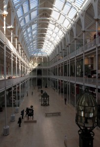 The Grand Gallery inside the National Museum of Scotland.