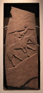 The Bullion Stone, a carved Pictish stone that depicts an elderly man riding a nag whilst drinking from a very large drinking horn (ca. 900-50 AD).