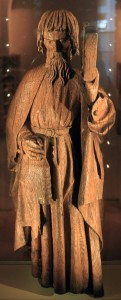 Wooden statue of St. Andrew carrying his cross and a book (ca. 1500 AD).