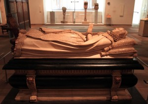 A cast of the tomb of Mary, Queen of Scots; the original is in Westminster Abbey.