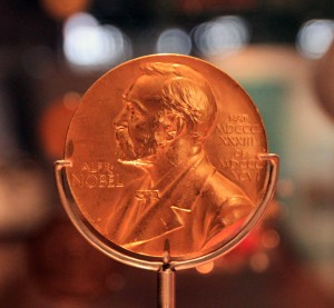 The Nobel Prize Medal in Medicine, awarded to Sir Alexander Fleming for his discovery of penicillin (awarded in 1945 AD).