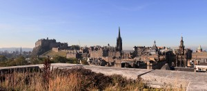 View of Edinburgh Castle and the old town from the rooftop gardens of the National Museum of Scotland.