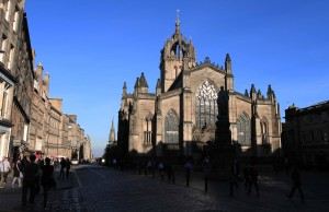 The Royal Mile and St. Giles' Cathedral.