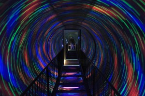A disorienting moving light tunnel inside the Camera Obscura and World of Illusions building.