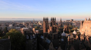 View of Edinburgh from the rooftop of the Camera Obscura and World of Illusions building.