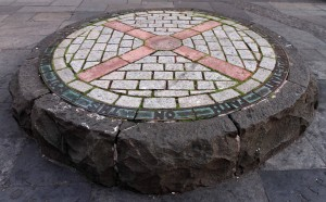 """X"" marks the spot where ""many martyrs and Covenanters died for the Protestant faith"" (at Grassmarket Square)."