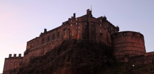 Edinburgh Castle at sundown, seen from Grassmarket Square.