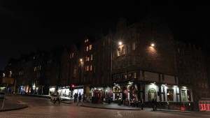Nighttime on the Royal Mile near Deacon Brodies Tavern.