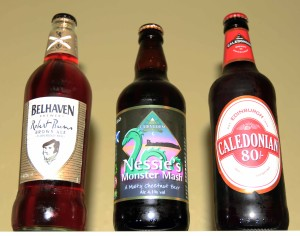 Three more Scottish beers, ready to be drunk.