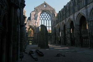 The ruins of Holyrood Abbey, which was founded in 1128 AD by King David I after having a vision of a Cross appearing between a stag's antlers on this spot.