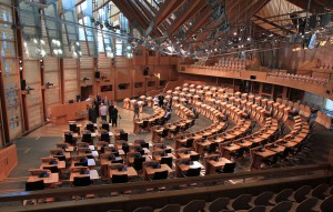 Inside Scotland's Parliamentary chamber.