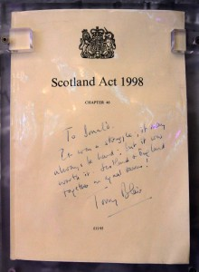 The Scotland Bill, which established a Scottish Parliament, was passed by the United Kingdom Parliament and received Royal Assent on November 19, 1998 AD (this copy has a handwritten note from Tony Blair to Donald Dewar).