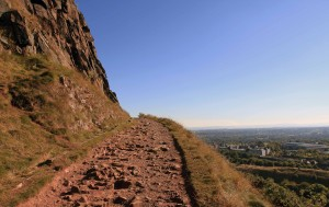 Trail on the western edge of Holyrood Park, at the base of Salisbury Crags, leading up to Arthur's Seat.