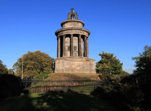 "The Burns Monument; built in 1839 AD, this building commemorates Scotland's national poet, Robert Burns. ""The best laid schemes o' mice an' men gang aft agley."""