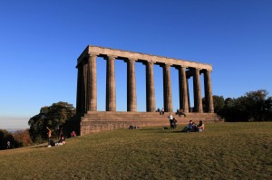 "The National Monument of Scotland on Calton Hill; it was supposed to resemble the Parthenon, but, due to a lack of funds, it was left unfinished in 1829 AD; it has since taken on various nicknames, such as ""the Pride and Poverty of Scotland."""